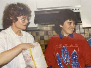 Me and Marve with popcorn NYE 1989